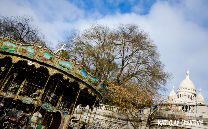 The carousel and Sacre Coeur in Montmartre