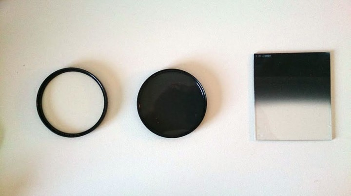camera filters including a UV filter, circular polarizing filter and a graduated neutral density filter