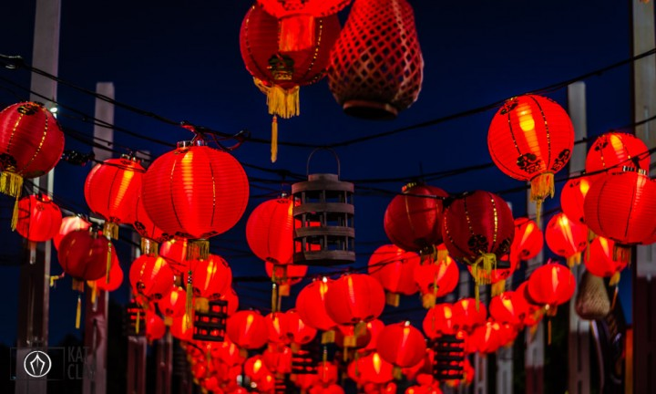 red lanterns at night noodle markets