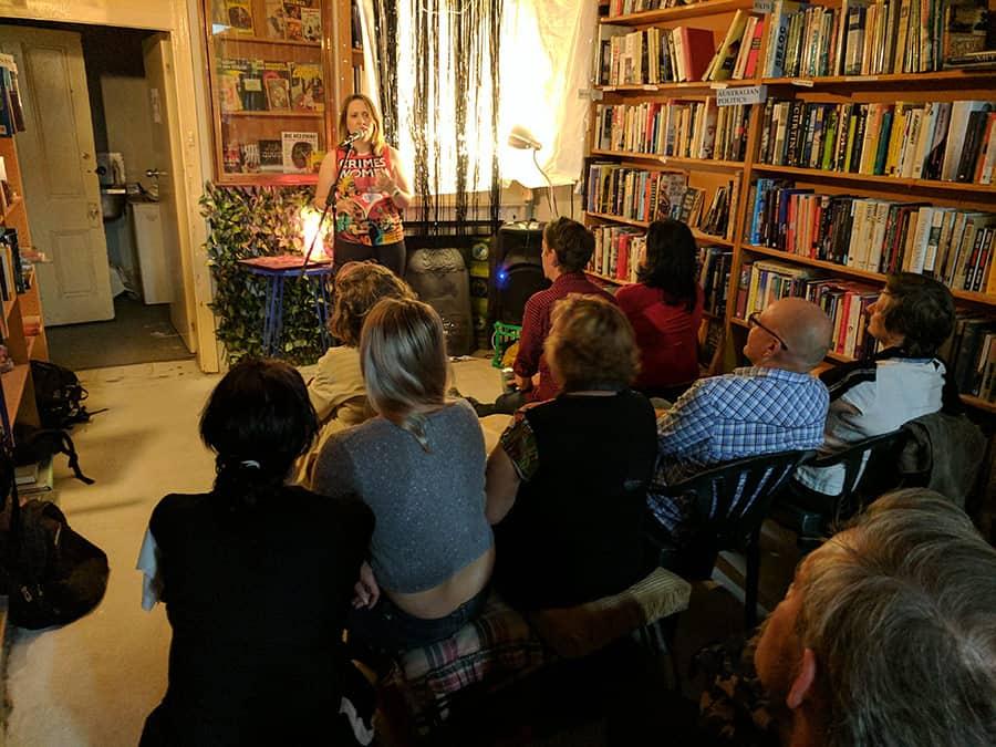 Kat Clay reading at Australia's first Noir at the Bar