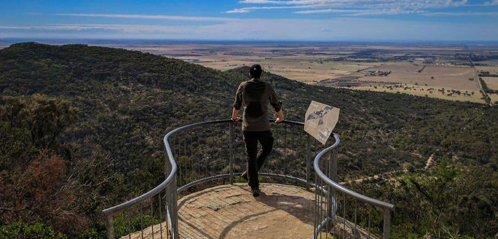 Hiker admires the view in You Yangs Regional Park