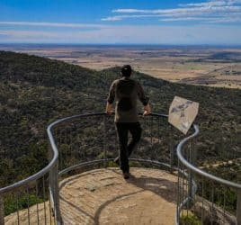 Hiker admires the view in You Yangs Regional Park