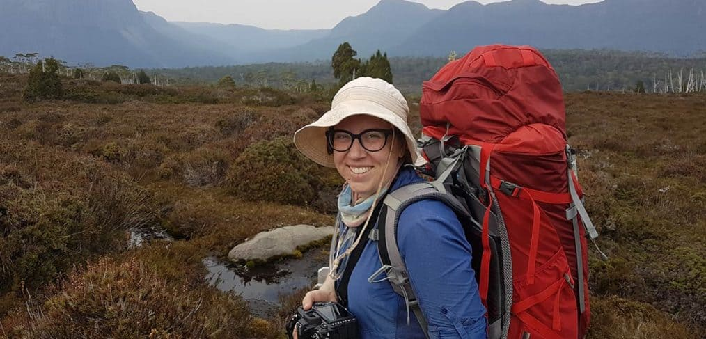 hiking the Overland Track with a heavy backpack