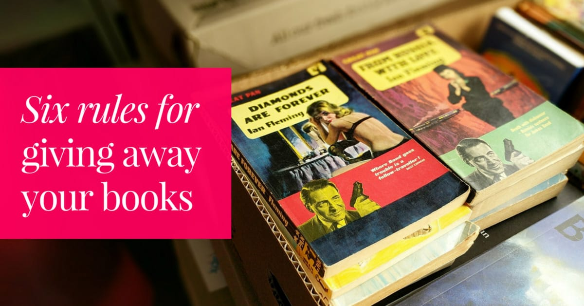 Box of books to be given away with the text overlay Six Rules for Giving Away Your Books