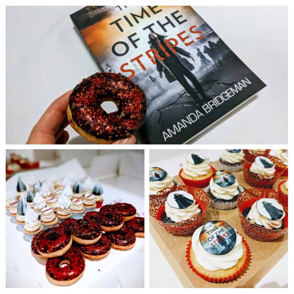 Sparkly cupcakes and donuts at the book launch for the Time of the Stripes by Amanda Bridgeman