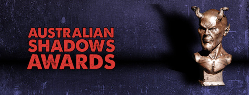 Australian Shadows Awards header with picture of trophy in the shape of a demon