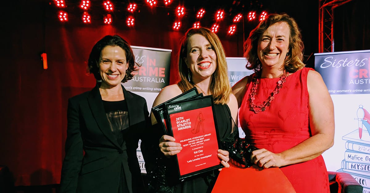 Kat Clay with Kate Atkinson and Cate Kennedy at the 2018 Scarlet Stiletto Awards