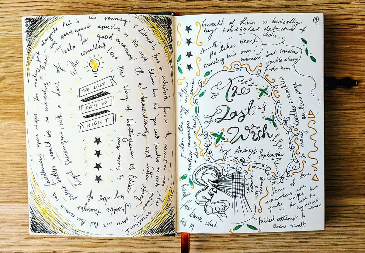 Hand illustrated book journal with two pages on the Last Days of Night and The Last Wish