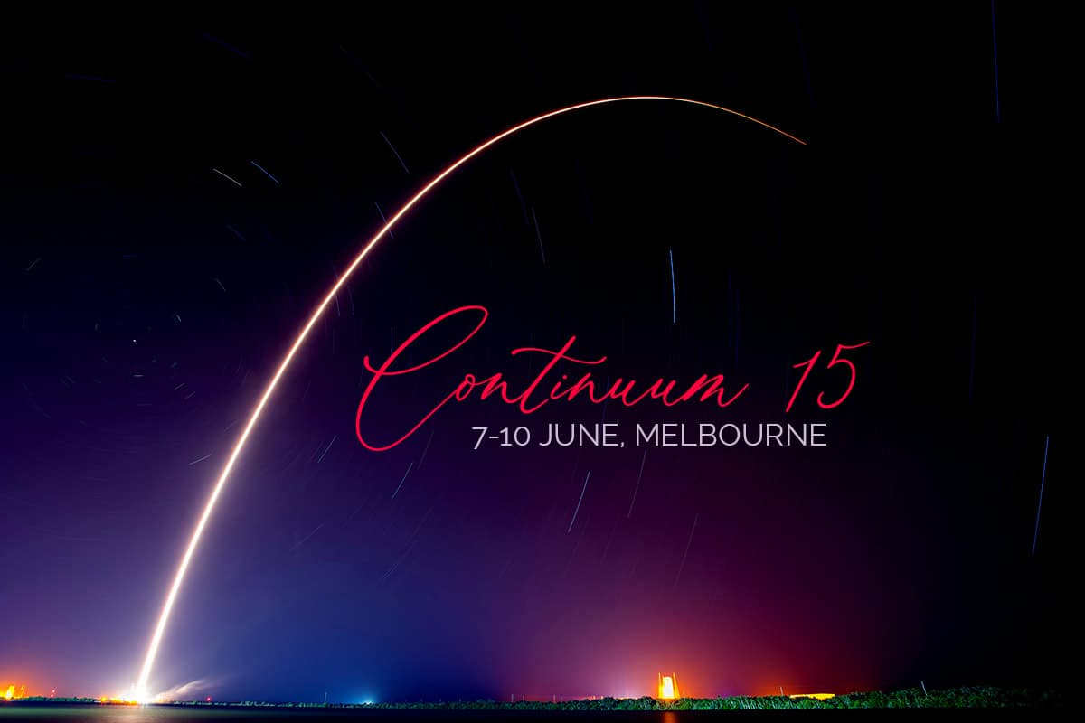 Rocket launch and text Continuum 15