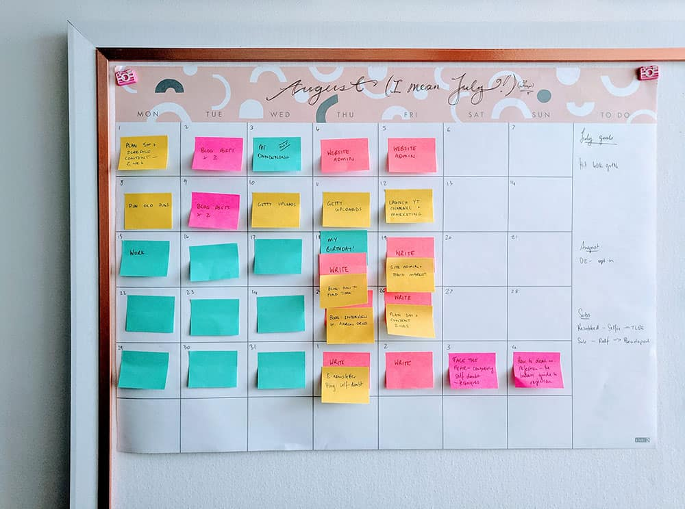 Calendar for planning writing time with post-it notes