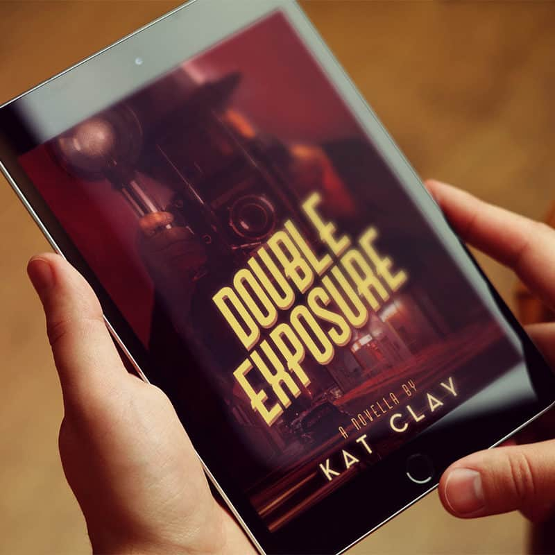 Double Exposure ebook cover on tablet