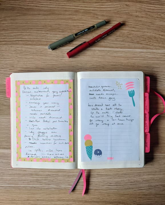 Pretty paper glued into a notebook