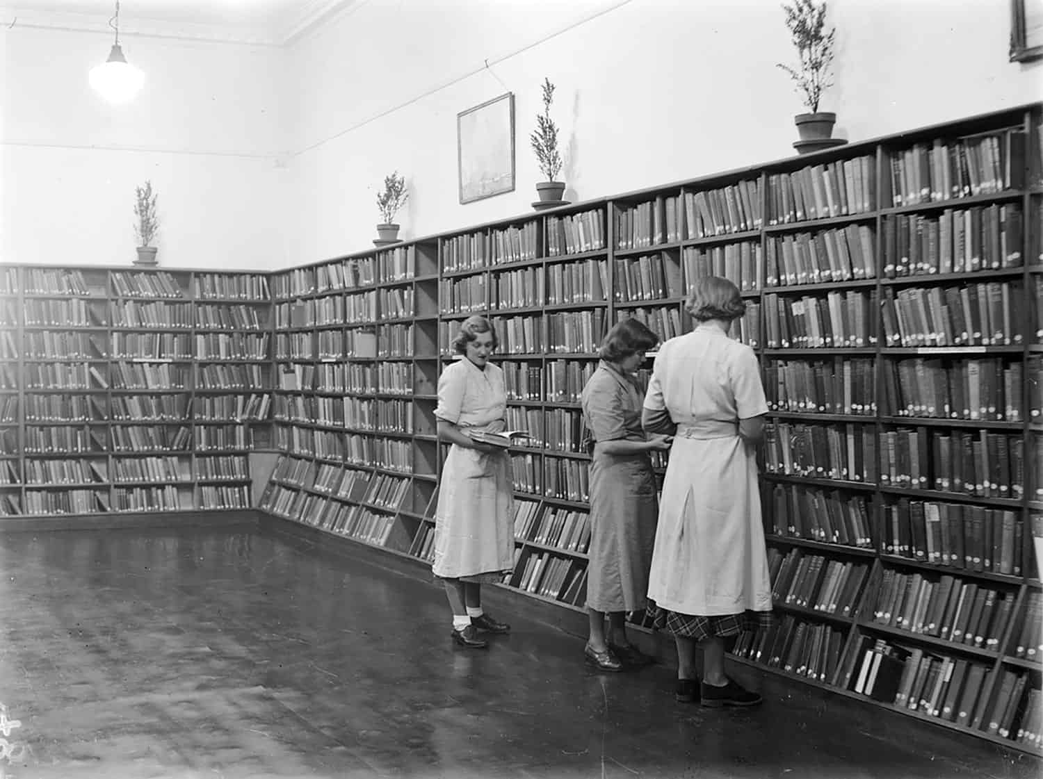 Women reading books in a library
