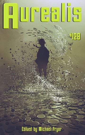 Cover of Aurealis magazine featuring a person in mirrored water
